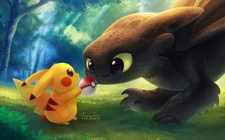 Обои на телефон твой, просто, покемоны, поезда, пикачу, дракон, беззубик, keep, hiw to train your dragon, detective pikachu
