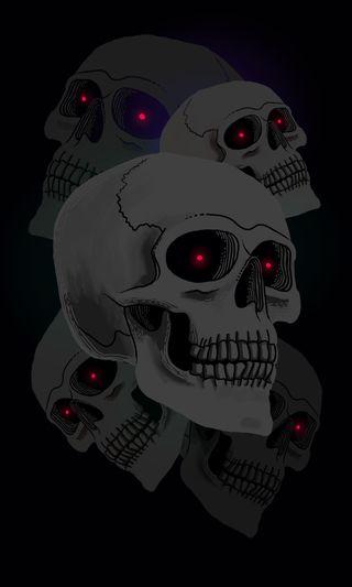 Обои на телефон жуткие, черные, череп, часы, хэллоуин, мертвый, лазер, глаза, oled, occult, dead watch skulls, Dead