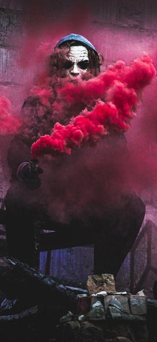 Обои на телефон дым, темные, опасные, небеса, красые, джокер, thrill, red smoke, power