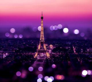 Обои на телефон фиолетовые, париж, башня, боке, сверкающие