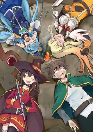 Обои на телефон тьма, аниме, аква, megumin, konosuba, kazuma