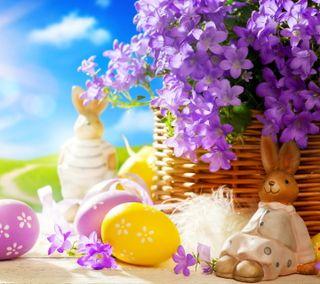 Обои на телефон кролики, цветы, фиолетовые, праздник, пасхальные, rabbits, easter rabbit