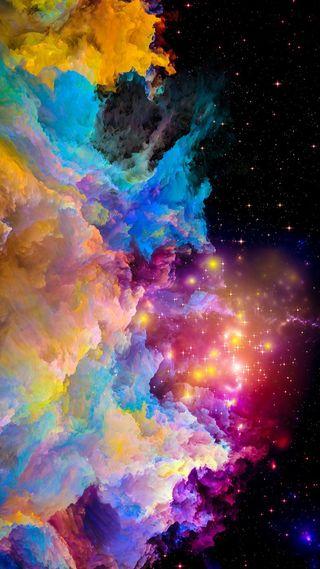 Обои на телефон сияние, сверкающие, облака, звезда, цветные, красочные, абстракция