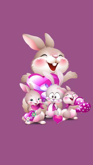 Обои на телефон rabbit family 1, дизайн, животные, семья, кролики