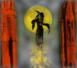 Обои на телефон ведьма, фантазия, луна