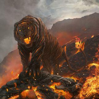 Обои на телефон тигр, пламя, огонь, лава, кошки, вулкан