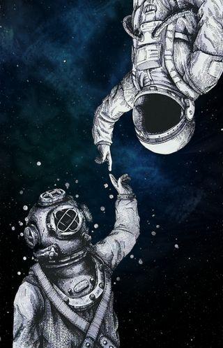 Обои на телефон космонавт, черные, синие, море, космос, забавные, абстрактные, astronaut diver