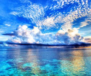 Обои на телефон берег, синие, природа, пейзаж, океан, облака, небо, морской берег, море