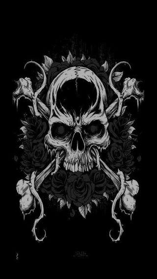 Обои на телефон тьма, череп, смерть, розы, skull and roses