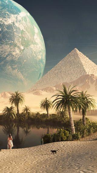 Обои на телефон пирамида, египет, песок, пальмы, озеро, дерево, девушки