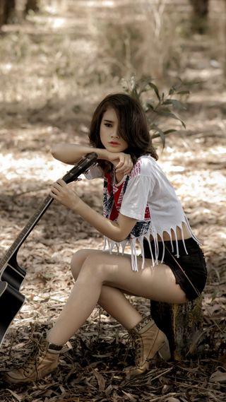 Обои на телефон настроение, природа, музыка, люди, девушки, гитара, outdoor, hd, girl with guitar, 1080p