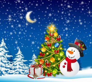 Обои на телефон подарок, счастливое, снеговик, снег, рождество, ночь, зима