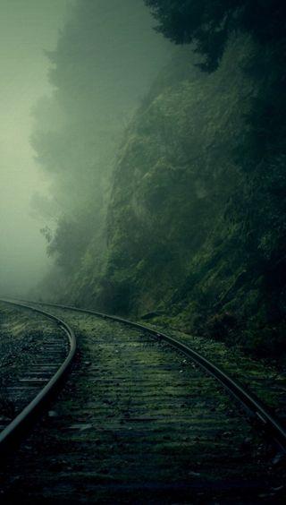 Обои на телефон ужасные, темные, рельсы, ночь, жуткие, железная дорога, дорога, депрессивные, горы, rail road
