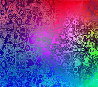 Обои на телефон текст, цветные, синие, розовые, ретро, медуза, красочные