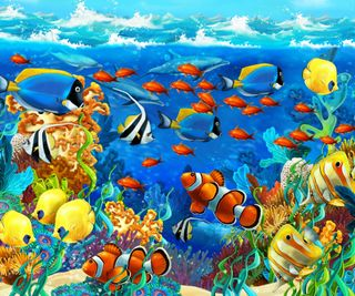 Обои на телефон рыби, подводные, океан, немо, море, картина, seabed