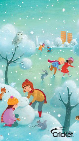 Обои на телефон art, zedgecrickmas, making snowman, арт, рождество, снеговик, дети, крикет