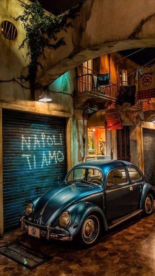 Обои на телефон фольксваген, синие, немецкие, машины, италия, жук, город, vw, tiamo, napoli, hd
