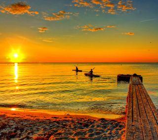 Обои на телефон пирс, берег, океан, закат, восход, волны, вода, dazzling
