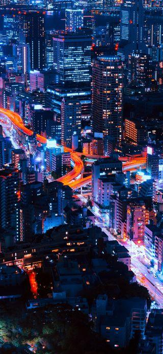 Обои на телефон токио, тема, парк, огни, ночь, неоновые, машины, города, город, бесконечность, infinity