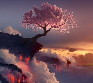 Обои на телефон сакура, японские, лава, дерево, vulcano, nippon, nihon, ambient