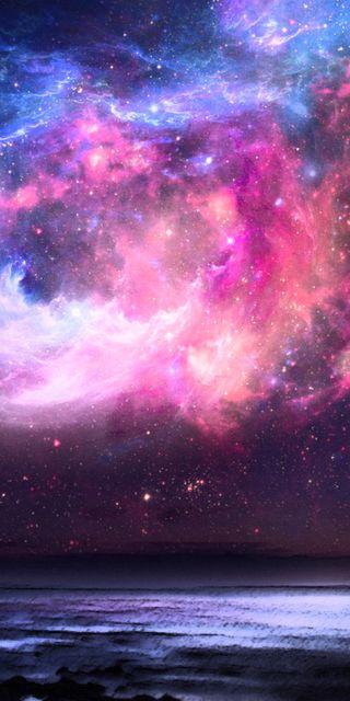 Обои на телефон туманность, розовые, пейзаж, небо, космос, галактика, galaxy