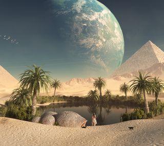 Обои на телефон пустыня, планета, пирамиды, песок, пальмы, озеро, oasis