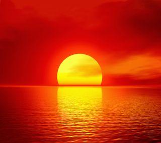 Обои на телефон горизонт, солнце, пейзаж, море, красые, закат