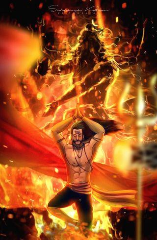 Обои на телефон пламя, махадев, дух, бог, ravan