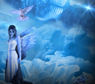Обои на телефон небеса, синие, свет, прекрасные, облака, девушки, голубь, ангел