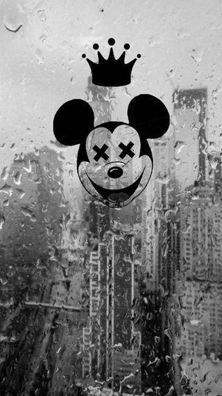 Обои на телефон mickey mad, preto, tumblr, черные, белые, дождь, маус, микки, безумные