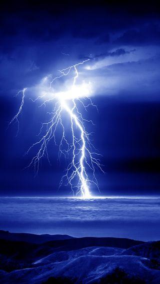 Обои на телефон природа, ночь, облака, молния