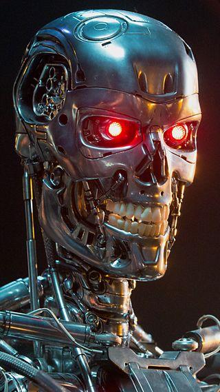 Обои на телефон t-800, череп, робот, терминатор