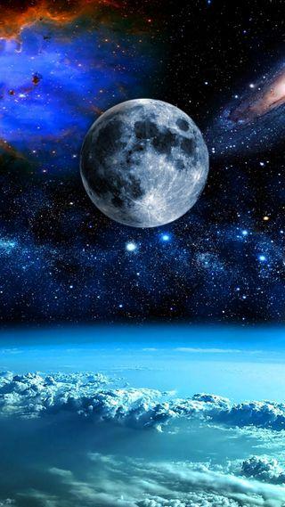 Обои на телефон планета, синие, облака, небо, космос