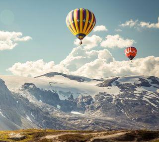 Обои на телефон шары, летать, природа, пейзаж, небо, живописные, горы, вид