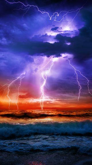 Обои на телефон штормовой, молния, море