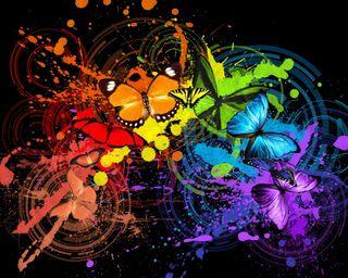 Обои на телефон отлично, цветные, рисунок, круги, красочные, векторные, бабочки, colorful butterflies