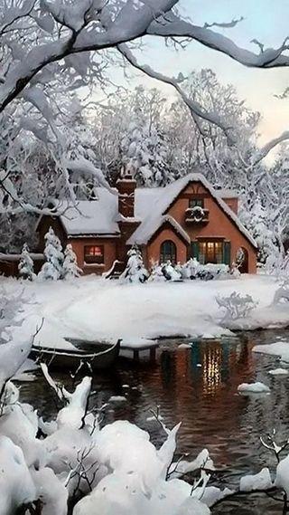 Обои на телефон снег, пейзаж