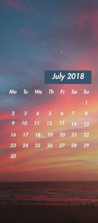 Обои на телефон календарь, пляж, июль, день, дата, zedgejul18cal, july supreme beach, jul