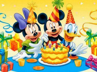 Обои на телефон торт, счастливые, микки, друзья, дисней, день рождения, mickey mause, disney, cake birthday, 640x480px