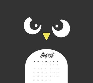 Обои на телефон пингвин, календарь, август, aug