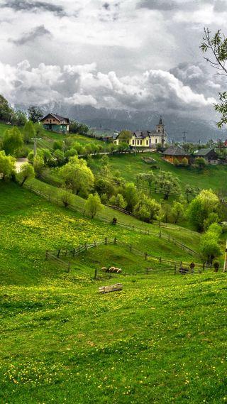 Обои на телефон облачно, туман, румыния, природа, пейзаж, небо, зеленые, горы, cloudy sky