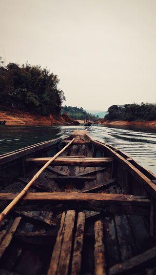Обои на телефон река, лодки, вид, boatview