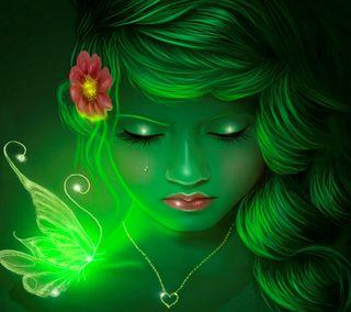 Обои на телефон слеза, неоновые, зеленые, девушки