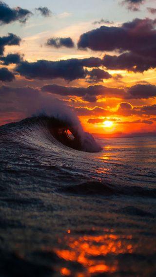 Обои на телефон волны, закат, sunset and waves, and waves
