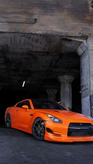 Обои на телефон ниссан, оранжевые, машины, nissan, gt-r