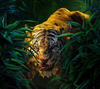 Обои на телефон книга, джунгли, тигр, shere khan, jungle book 2016, jungle book, bengal tiger