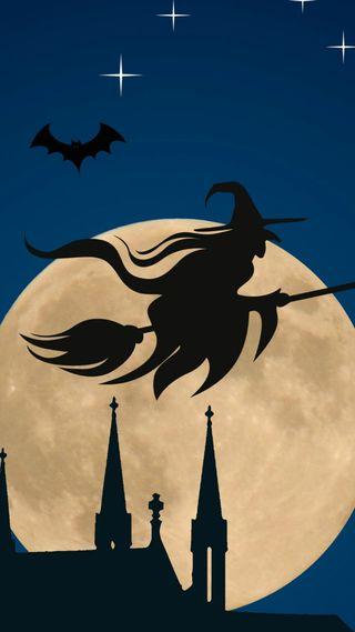 Обои на телефон ведьма, хэллоуин, праздник, классика
