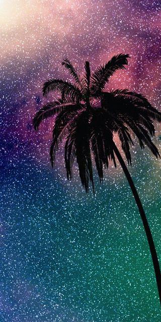 Обои на телефон пальмы, красочные, звезды, дерево