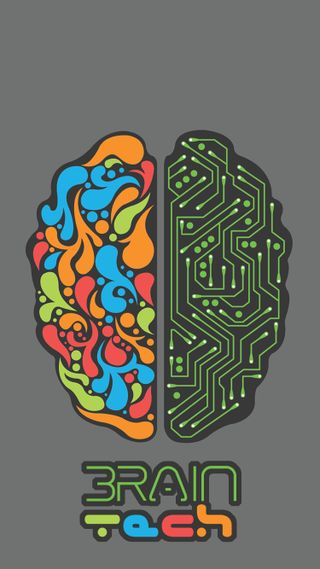 Обои на телефон технология, цифровое, цветные, мозг, дизайн