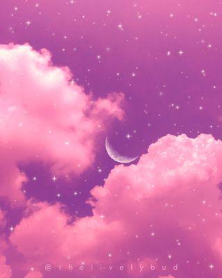 Обои на телефон эстетические, фиолетовые, розовые, природа, облака, небо, луна, звезды, вайб, айфон, iphone, aesthetic sky 1